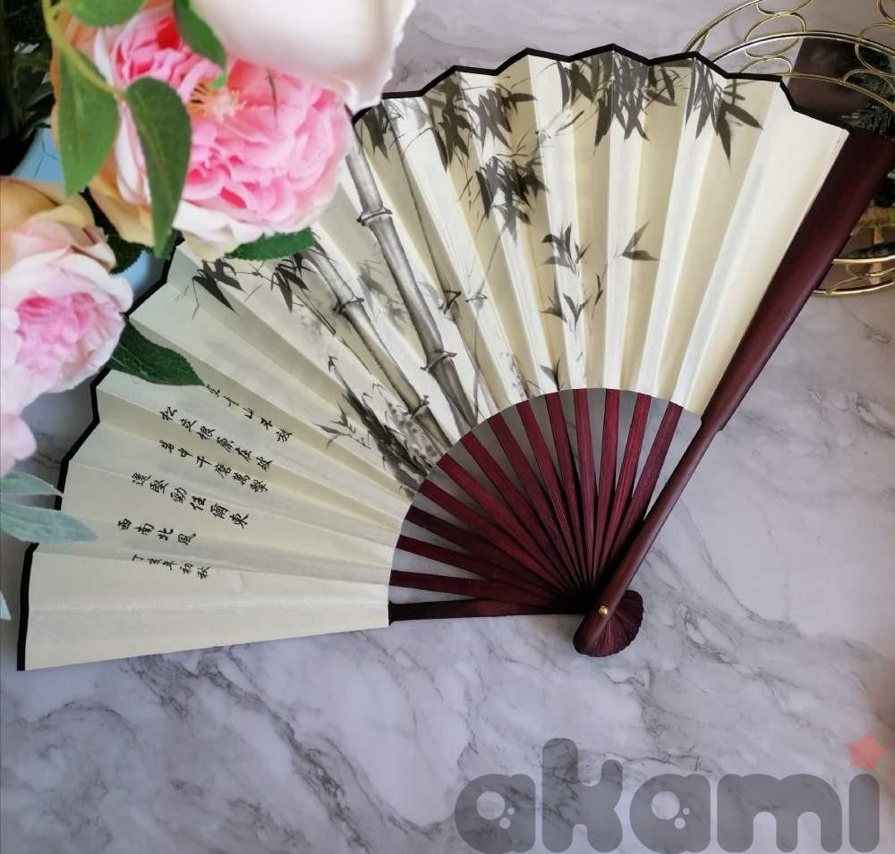 Веер китайский белый с бамбуком  60 на 33 см aw226  shg29 - 1