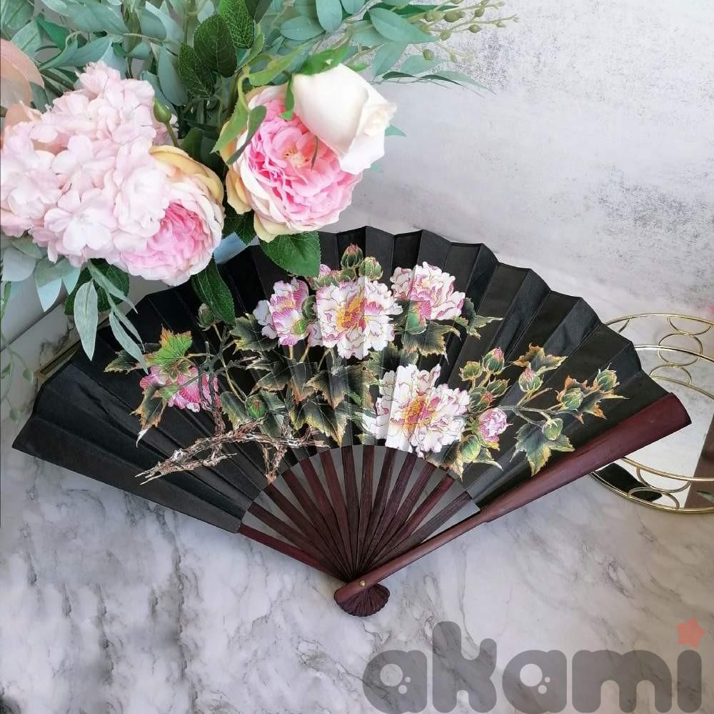 Веер китайский черный с пионами 60 на 33 см  aw227  shg29 - 1